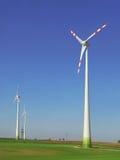 Green energy. Wind turbine farm in Austria Stock Photo