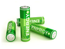 Green energy. Very high resolution 3d rendering of four batteries over white Royalty Free Stock Photo
