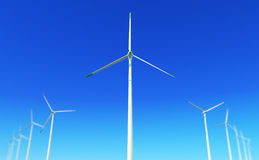 Green energy #2. 3D render - wind turbines farm with depth of field effect (lens blur; DoF Stock Photography