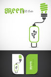 Green energy. Eco concept: light bulb connected with a USB. Vector EPS10 file included Stock Photos
