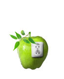 Green energy. Concept with an apple and plant isolated on white background Stock Photos