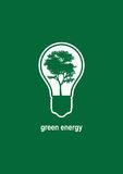 Green Energy. Minimalist illustration with light bulb and tree growing in it Royalty Free Stock Images