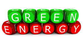 Green energy. Renewable green energy concept, green energy words in 3d blocks on white surface royalty free illustration