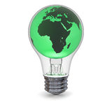 Green energy. Green model of planet Earth inside lightbulb, concept of solution to global green power generation. Elements of this image furnished by NASA Stock Photos