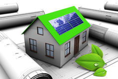 Green energy. 3d illustration of house design with solar panel Royalty Free Stock Image