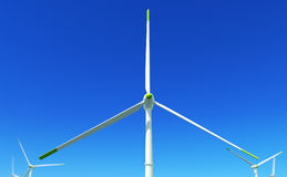 Green energy #3. 3D render - wind turbine close-up shot; with depth of field effect (lens blur; DoF Royalty Free Stock Photo