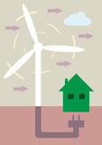 Green Energy. An  illustration of a wind turbine, connecting to a green house with a large plug Stock Photo