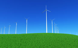 Green energy #4. 3D render - wind turbines farm in green meadow Stock Photo