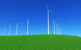 Green energy #5. 3D render - wind turbines power plant on green meadow; with depth of field effect (lens blur; DoF Stock Photo