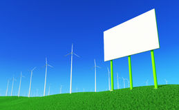 Green energy #6. 3D render - blank billboard and wind turbines farm on green meadow Royalty Free Stock Photography
