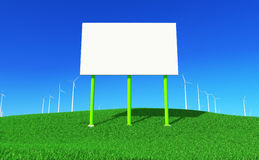 Green energy #7. 3D render - blank billboard and wind turbines farm on green meadow. Front view Royalty Free Stock Image