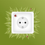 Green energy. Green Concept with power socket, leafs ans a lady bug Stock Photography