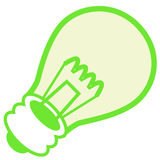 Green energy. A  drawing of a green lightbulb, representing clean energy Royalty Free Stock Photos