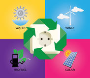 Green energy alternative icon wind turbine electricity biofuell solar panel Royalty Free Stock Photo