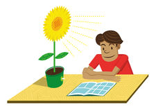 Green Energy. Boy reading a comic on a table with light like a sunflower, meaning energy from ecological sources stock illustration