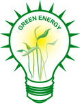 Green Energy Bulb. Green energy with light bulb Royalty Free Stock Photo