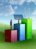 Green energy business. Graph showing business growth through investment in renewable energies. 3D illustration Royalty Free Stock Images