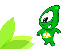 Green energy character. An illustrated or cartoon drawing of a green figure or character representing clean, efficient energy Stock Image