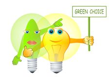 Green energy choice. Vector illustration of green energy concept with two light bulbs Stock Images