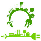 Green Energy City Banner Stock Photos