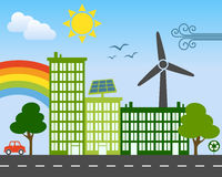 Green Energy City Concept. In a sunny day with wind turbine, solar panel and recycle symbol. Eps file available Royalty Free Stock Image