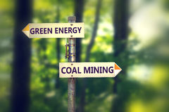 Green energy or coal mining royalty free stock image