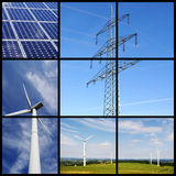 Green energy collage. Clean energy collage with solar panels, wind power and pylon Stock Photos