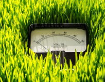 Green Energy Concept. A electrical volt meter in a lush green lawn of grass illustrates green energy Stock Photos