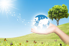 Green Energy Concept. Save World,Save Us Using Green Energy Stock Photos