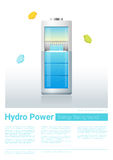 Green energy concept background with hydro energy charging battery Royalty Free Stock Photography
