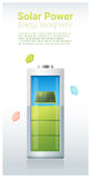 Green energy concept background with solar panel charging battery Royalty Free Stock Images