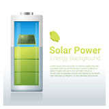 Green energy concept background with solar panel charging battery Stock Photo