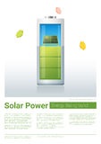 Green energy concept background with solar panel charging battery Royalty Free Stock Photography