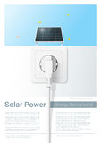 Green energy concept background with solar panel and electric plug Royalty Free Stock Image