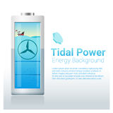 Green energy concept background with tidal energy charging battery Stock Photo