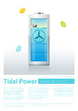 Green energy concept background with tidal energy charging battery Royalty Free Stock Photo