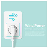 Green energy concept background with wind power and electric plug Stock Photography