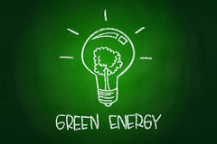 Green Energy. Concept, drawn with Chalk on Blackboard Royalty Free Stock Images