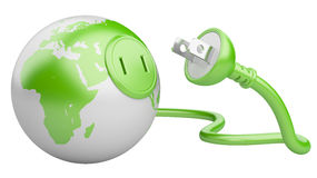 Green energy concept. green Earth with  electric plug. Isolated on a white background Royalty Free Stock Photo