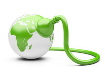 Green energy concept. green Earth with  electric plug. Isolated on a white background Royalty Free Stock Image