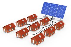 Green Energy Concept. Many Houses Connected to the Solar Panel. Green Energy Concept. Many Houses Connected to the Solar Panel on a white background. 3d Royalty Free Stock Photography