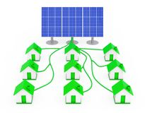 Green Energy Concept. Many Houses Connected to the Solar Panel. Green Energy Concept. Many Houses Connected to the Solar Panel on a white background. 3d Stock Photography