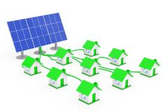 Green Energy Concept. Many Houses Connected to the Solar Panel. Green Energy Concept. Many Houses Connected to the Solar Panel on a white background. 3d Royalty Free Stock Photos