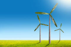 Green energy concept - natural wind generator turbines on summer Stock Images