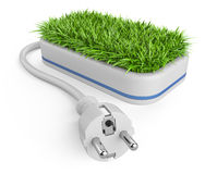 Green energy concept with plug and pot with grass. Royalty Free Stock Photography