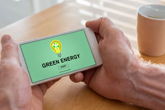 Green energy concept on a smartphone Stock Image