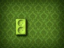 Green energy concept wall socket. Green socket on green wall, renewable eco energy concept stock illustration