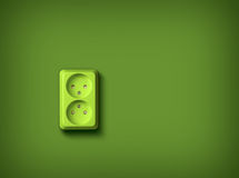 Green energy concept wall socket Stock Photography