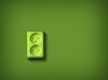 Green energy concept wall socket. Green socket on green wall, renewable eco energy concept vector illustration