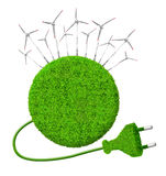 Green energy concepts. Green planet with wind turbines.Green energy concepts Stock Image